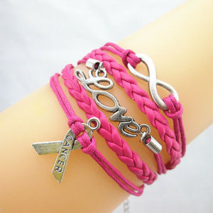 PINK BREAST CANCER Infinity LOVE Charm Bracelet